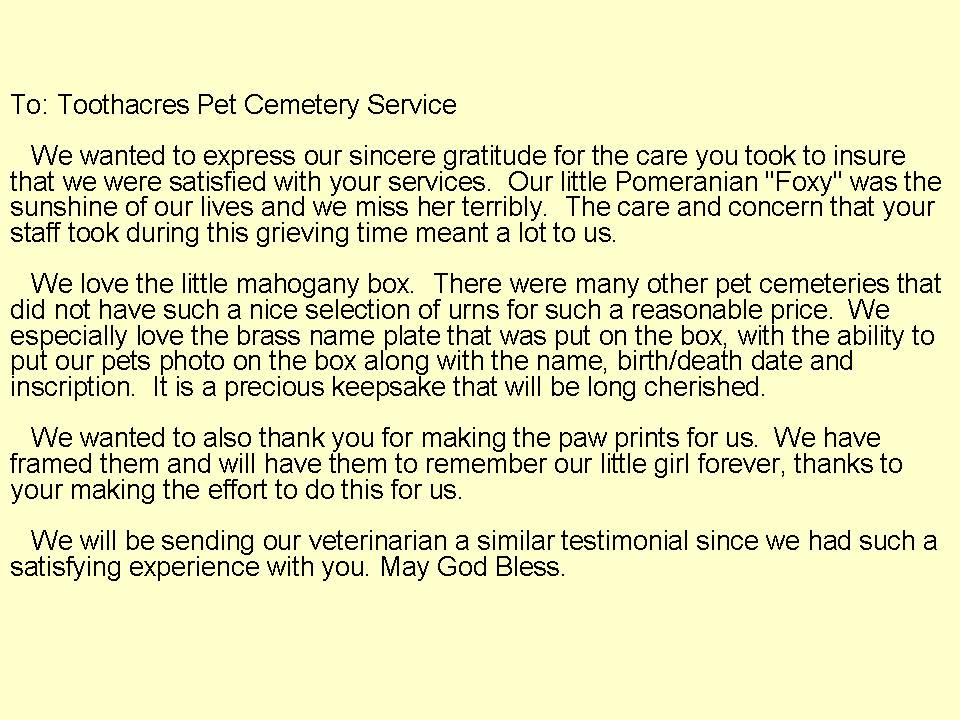 Customer Comments | ToothAcres Petcare Center